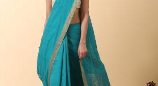 Handloom Mangalgiri Cotton Saree With Nizam Border – Teal at ₹3,450.00